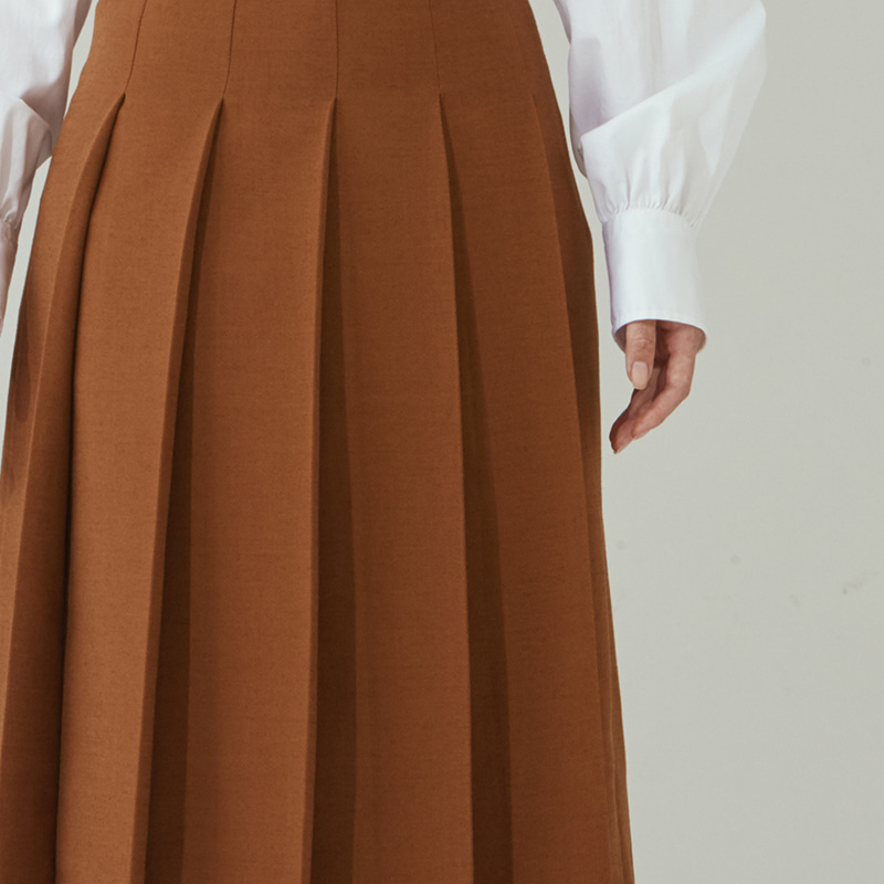 Midi pleats skirts_Camel