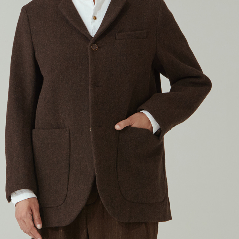Tailored 3button middle jacket_Brown