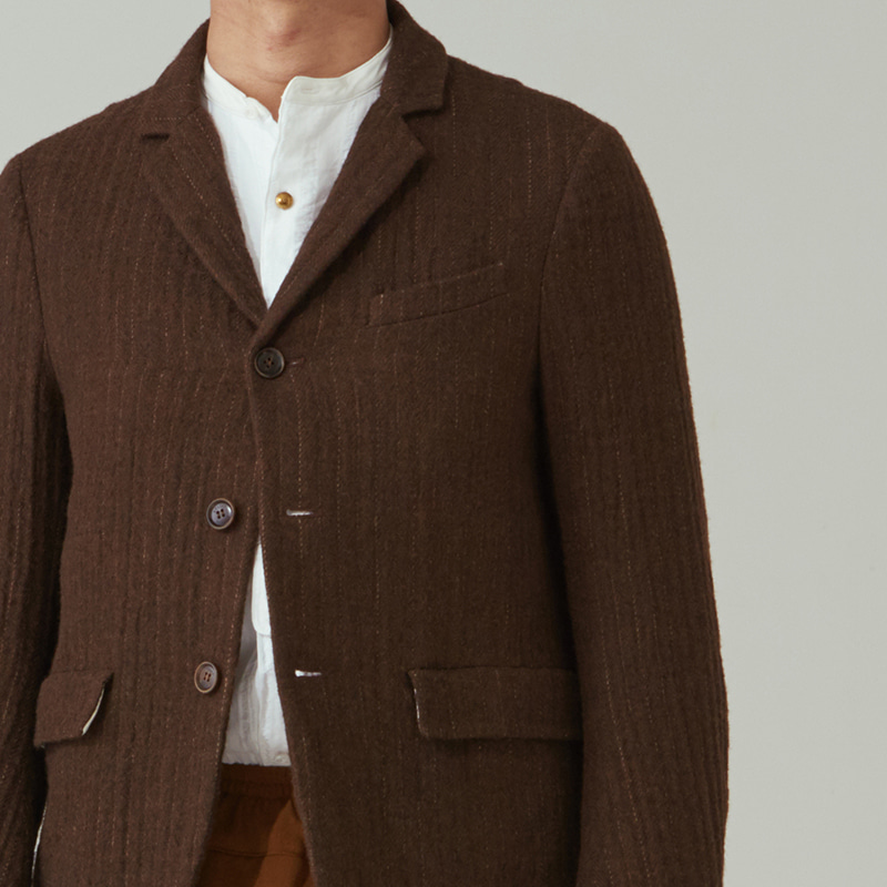 Tailored 3button single jacket_Brown