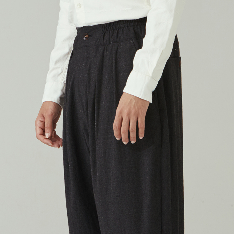 Banding string pants(zipper)_Charcoal
