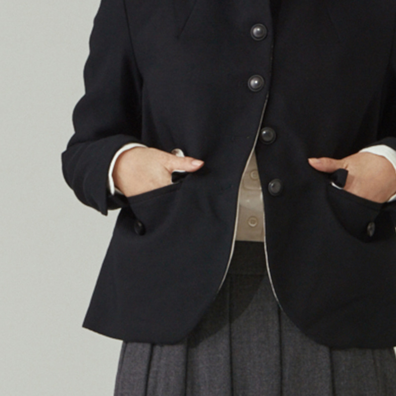 Round-collar single jacket_Black