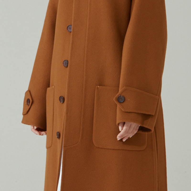 Hand-made Inverted pleats hoodie Coat_Camel