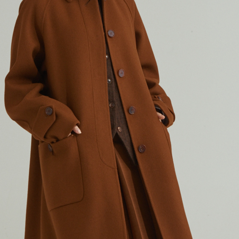 Hand-made Inverted pleats balmacaan coat_Camel