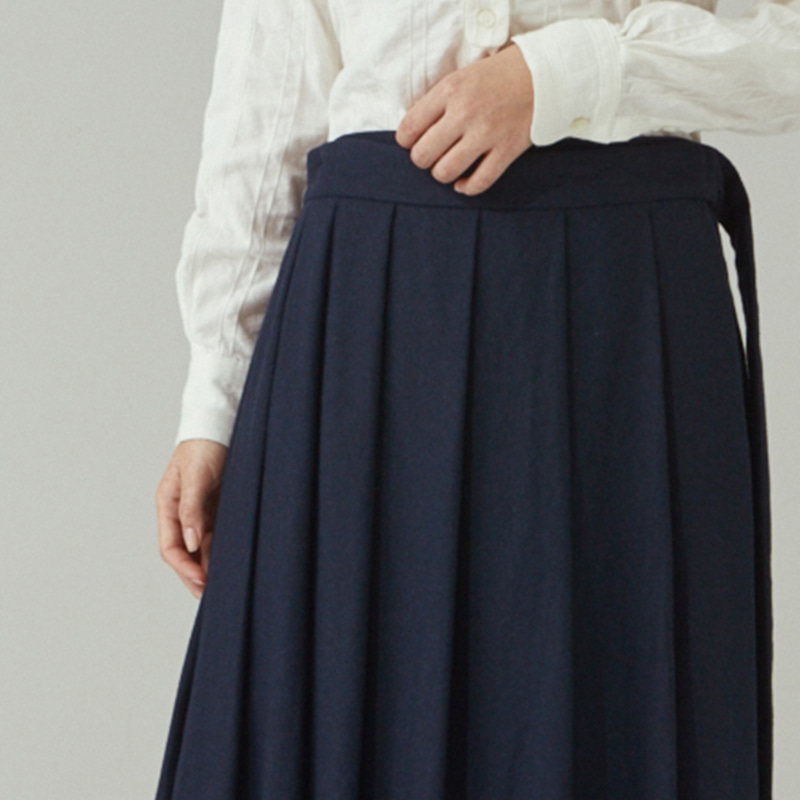Wrap pleats skirts_Navy