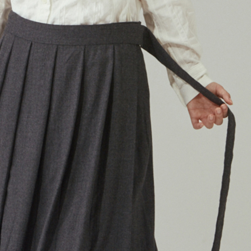 Wrap pleats skirts_Grey
