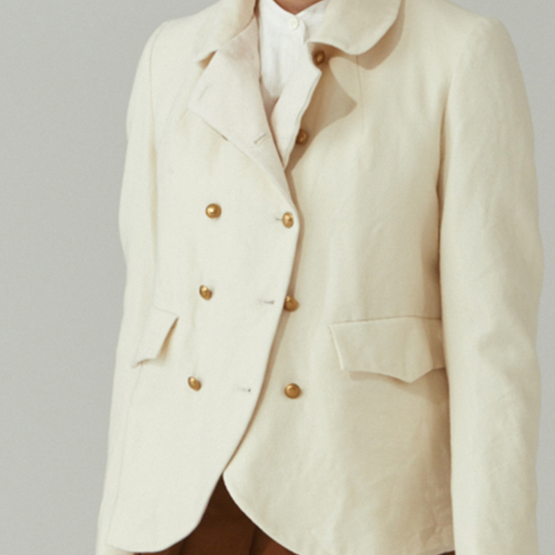 Round-collar double jacket_Ivory