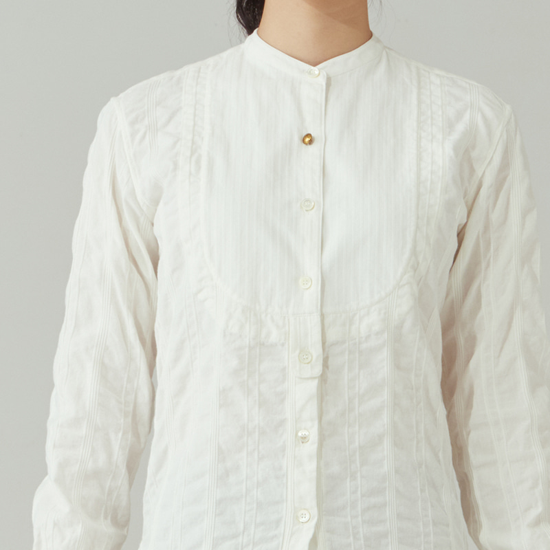 Vintage stand-collar shirts_Off white