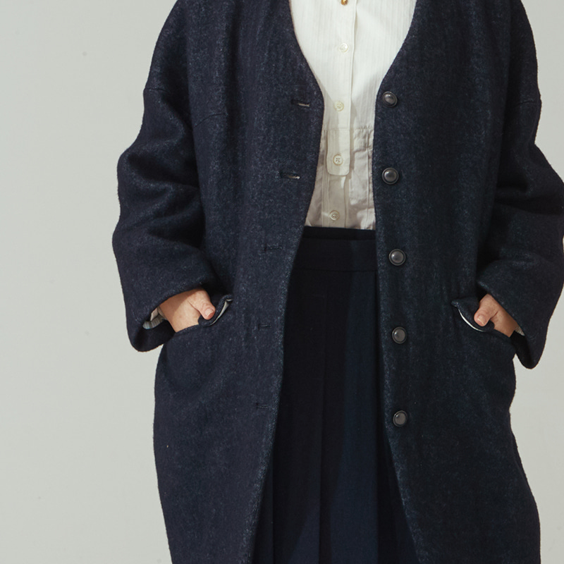 Non-collar oval coat_Navy