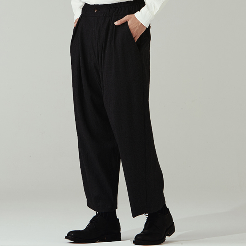 Banding string pants(zipper)_Black