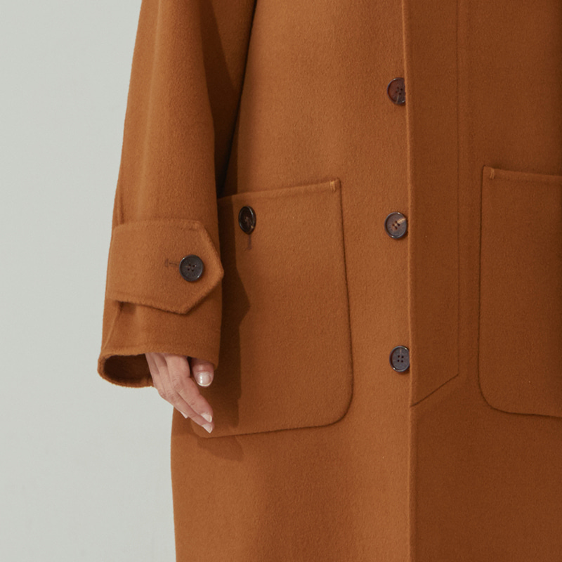H/M Inverted pleats hoodie Coat_Camel