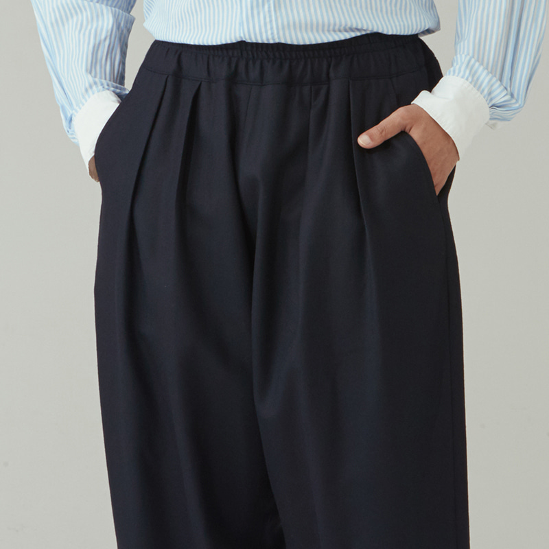 Banding string pants_Navy