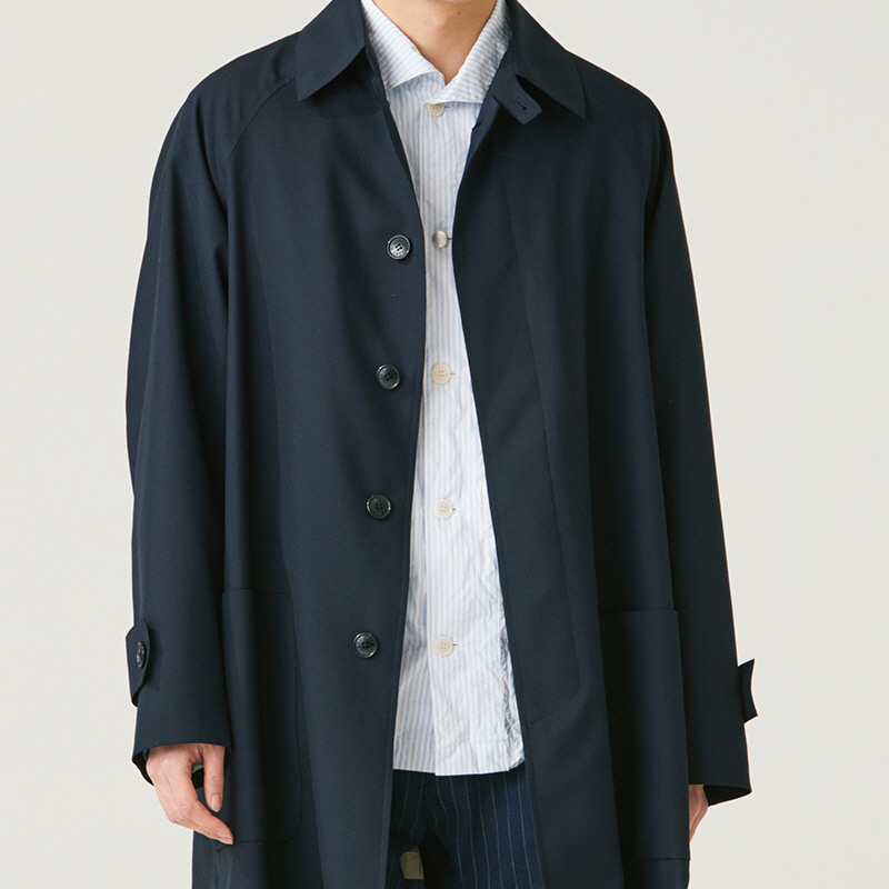 Inverted pleats trench coat_Navy