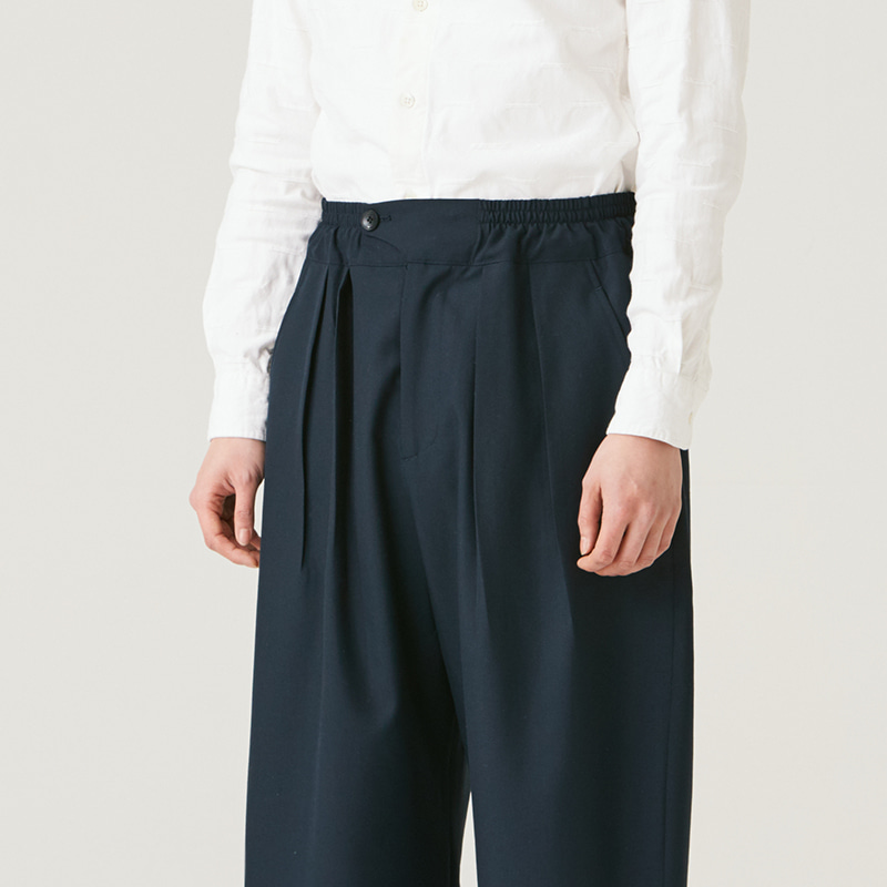 Light Banding string pants_Navy
