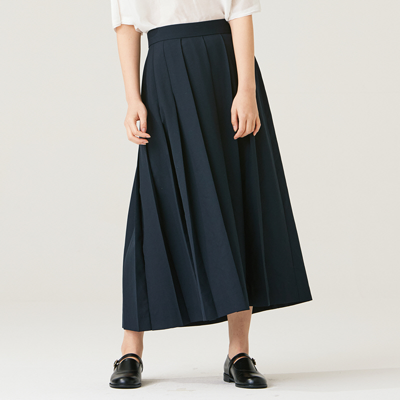 One side pleats skirt_Navy