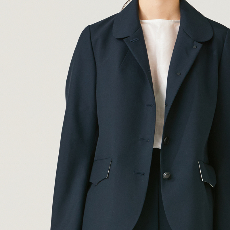 Round-collar middle jacket_Navy