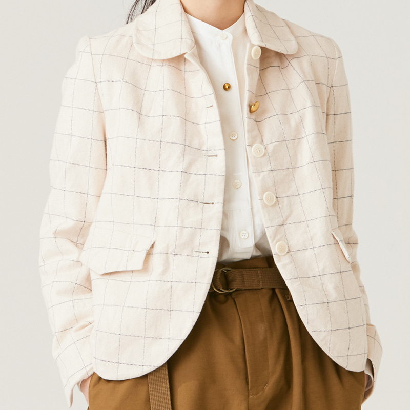 Round-collar single jacket_Light Beige(Garments Washing Finish)