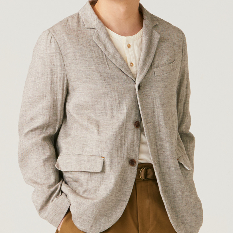 Tailored 3button single jacket_Warm grey(Garments Washing Finish)