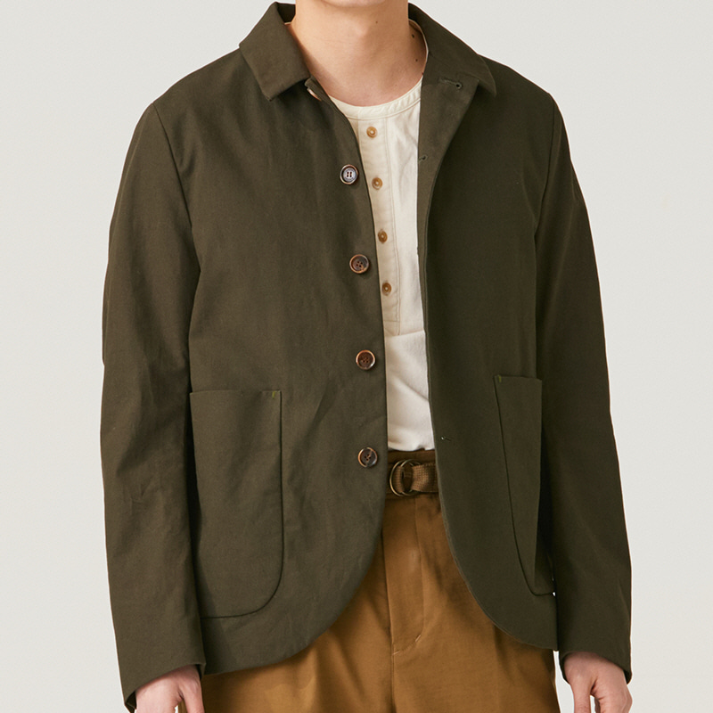 Convertible collar single jacket_Khaki(Garments Washing Finish)