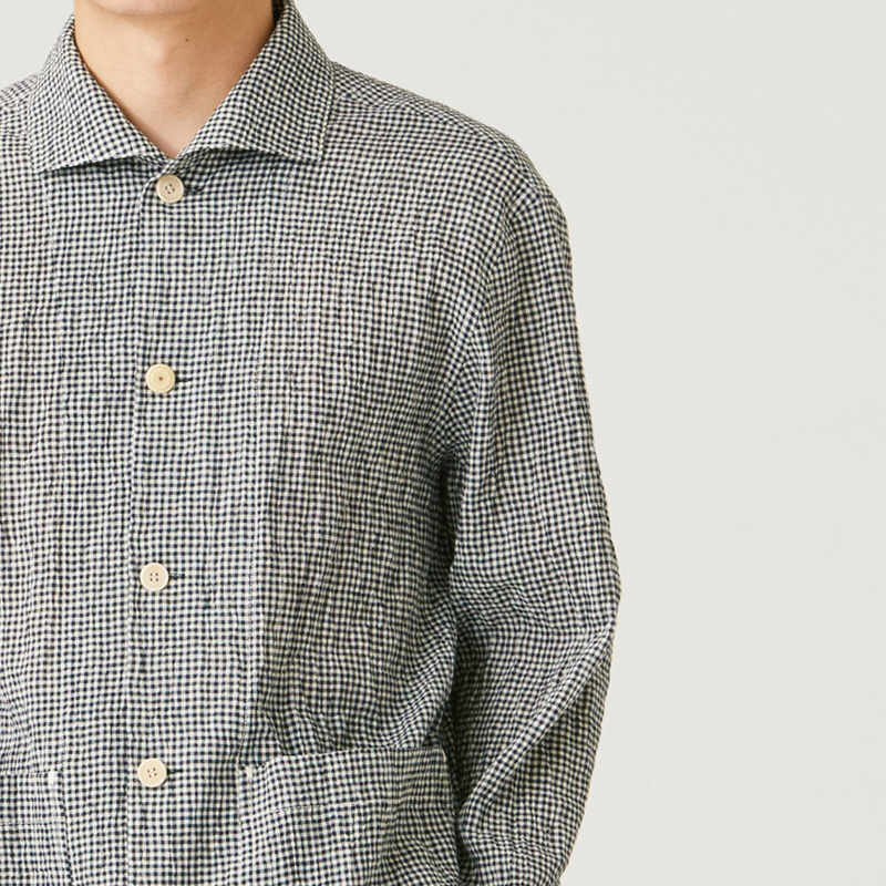 Wing collar shirts_Black(Garments Washing Finish)