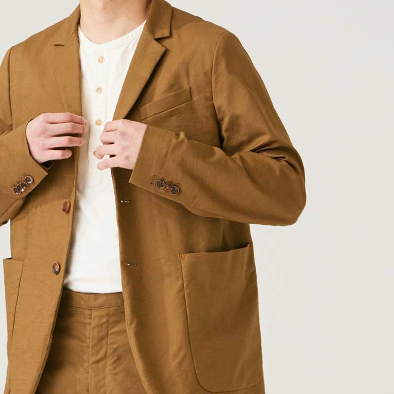 Tailored 3button middle jacket_Beige(Garments Washing Finish)
