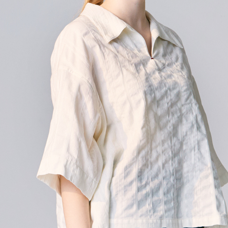 Oblong collar pullover shirts_Off white