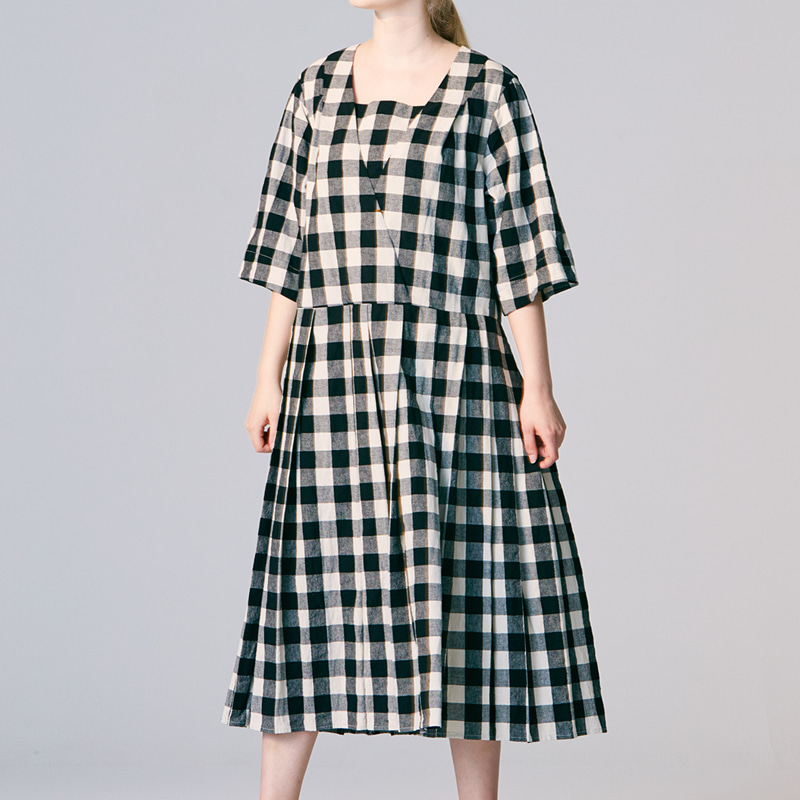 Half sleeve pleats One piece_Check(Garments Washing Finish)