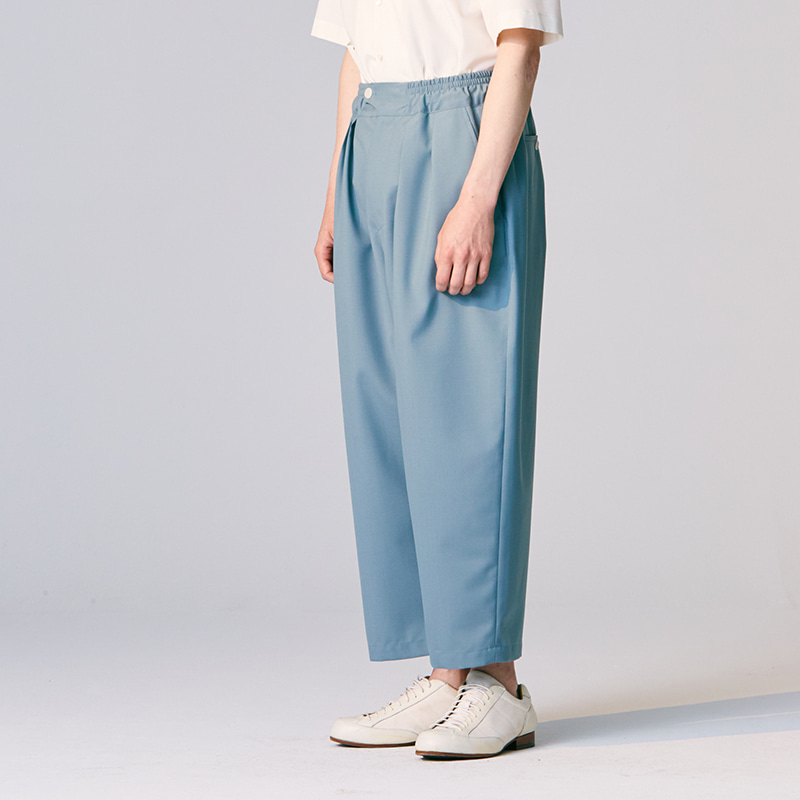 Summer Banding string pants_Silver blue