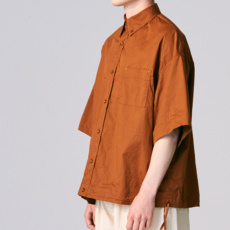 Oversized string shirts_Brick(Garments Washing Finish)