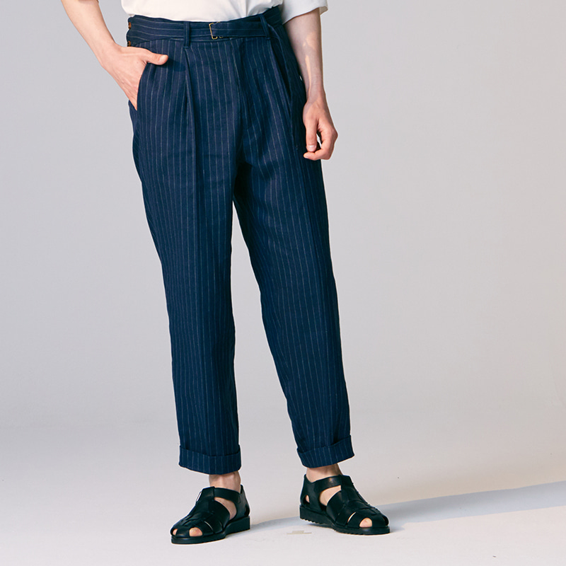 Side belted gurkha pants_Navy stripe
