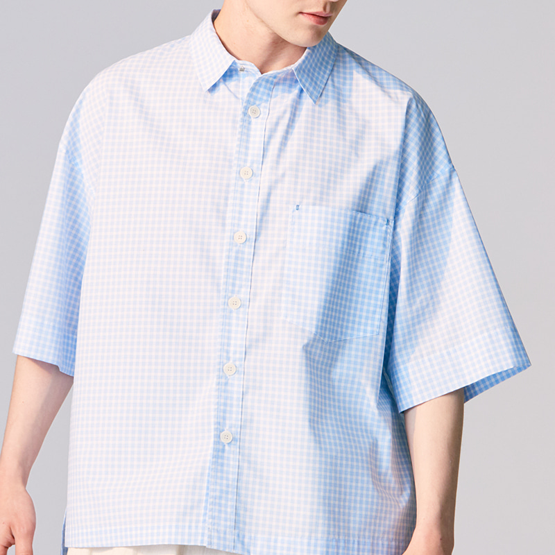 Regular collar back pleats shirts_Blue check