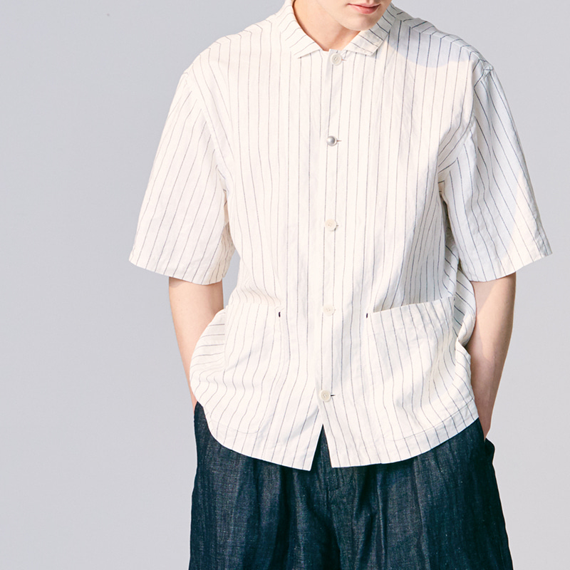 Out pocket half sleeve shirts jacket_Stripe(Garments Washing Finish)