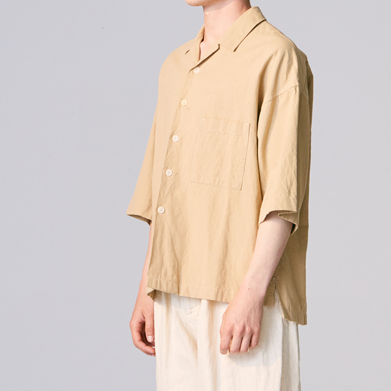 Convertible collar shirts_Beige(Garments Washing Finish)