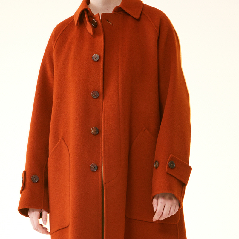 Hand-made Inverted pleats balmacaan Coat_Brick