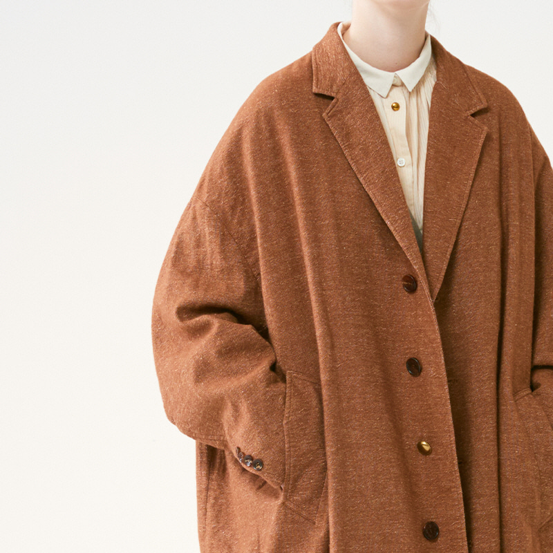 Curved sleeve wide Coat_Light Brown