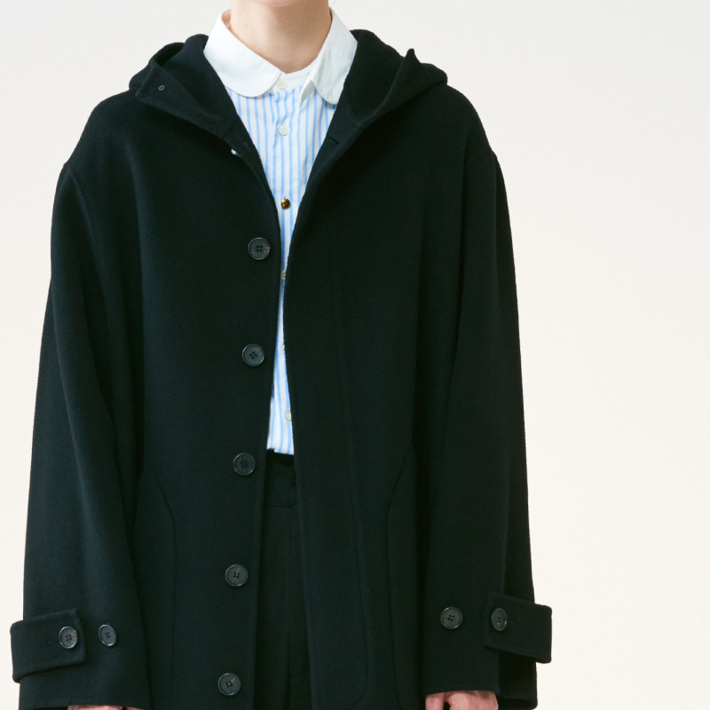 Hand-made Inverted pleats hoodie Coat_Black