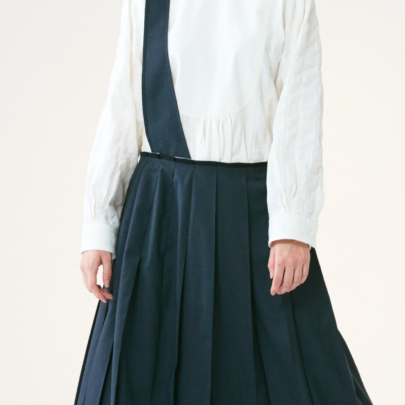 Suspender pleats skirts_Indigo Chaoal