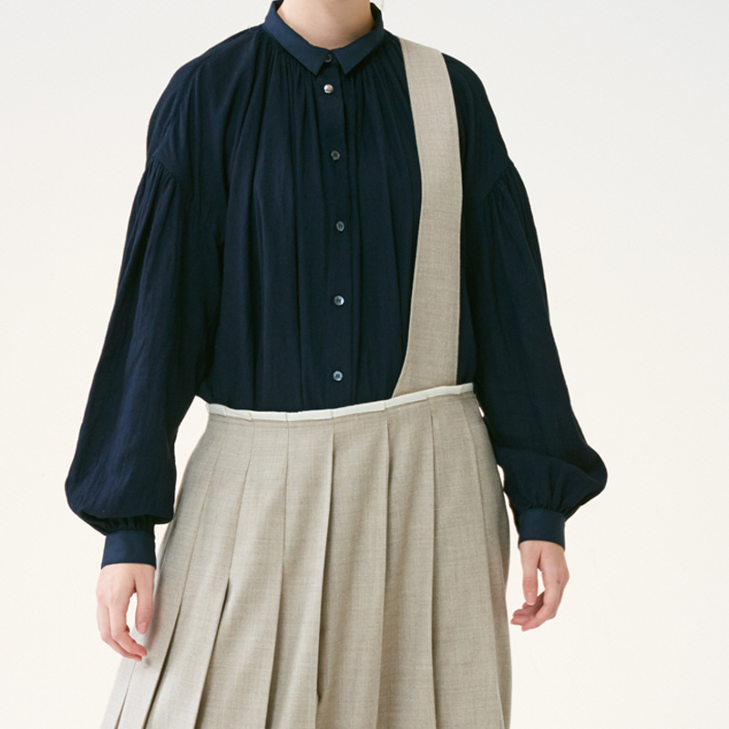 Suspender pleats skirts_Oatmeal