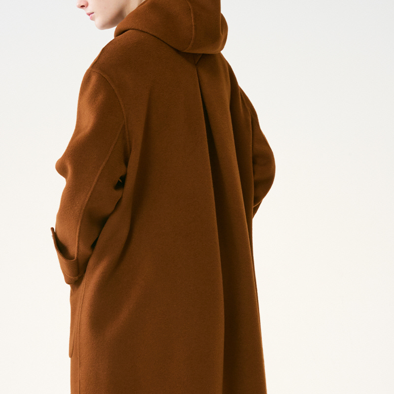 Hand-made Inverted pleats hoodie Coat_Brown