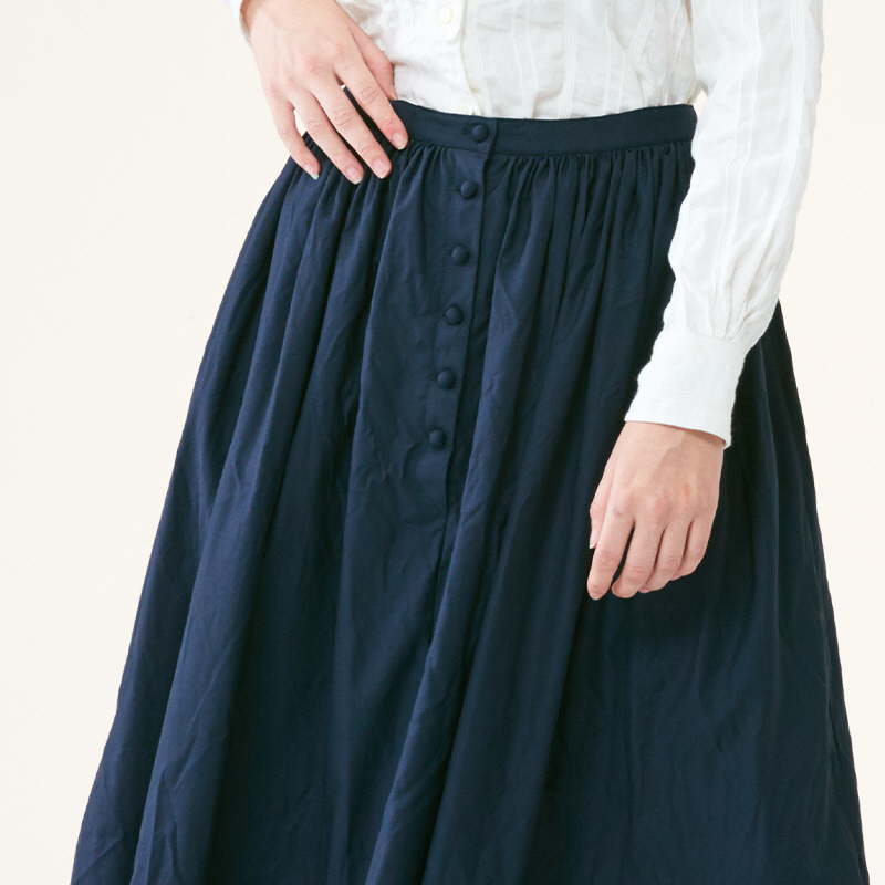 Gather full skirts_Navy(Garments Washing Finish)
