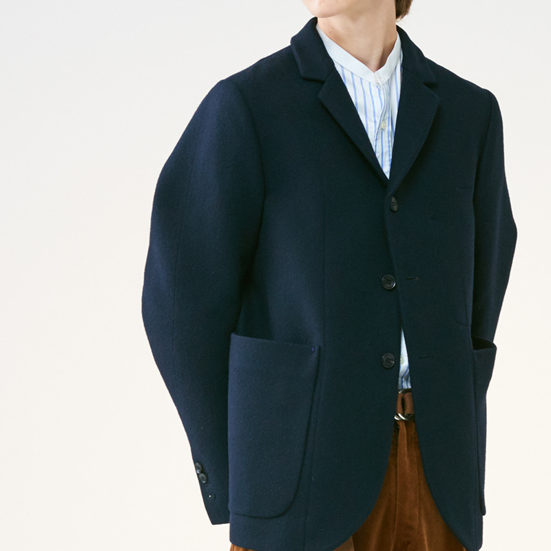 Tailored 3button middle jacket_Navy