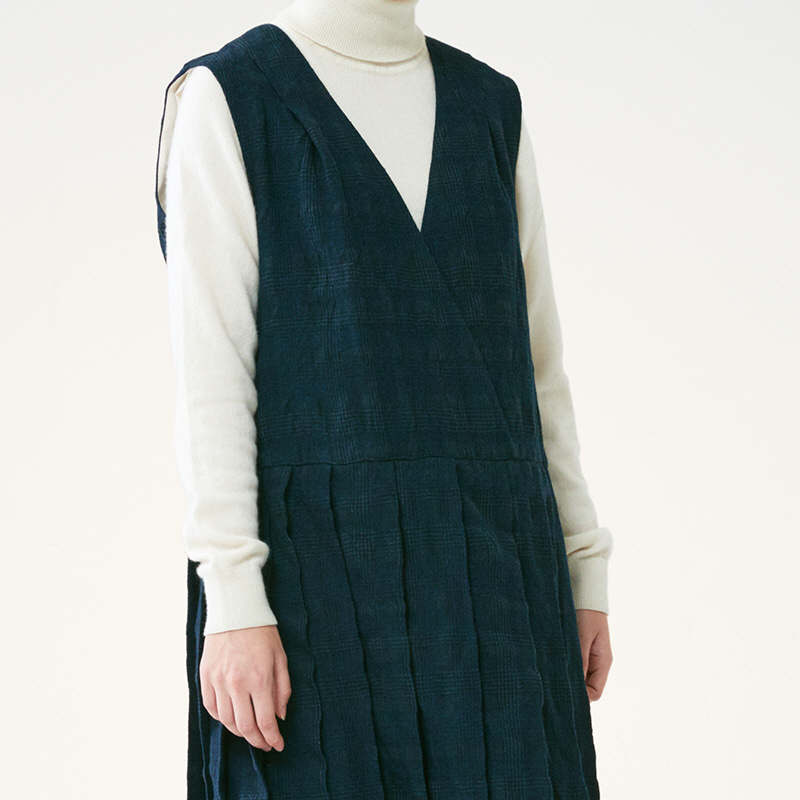 Shoulder shirring One piece_Navy