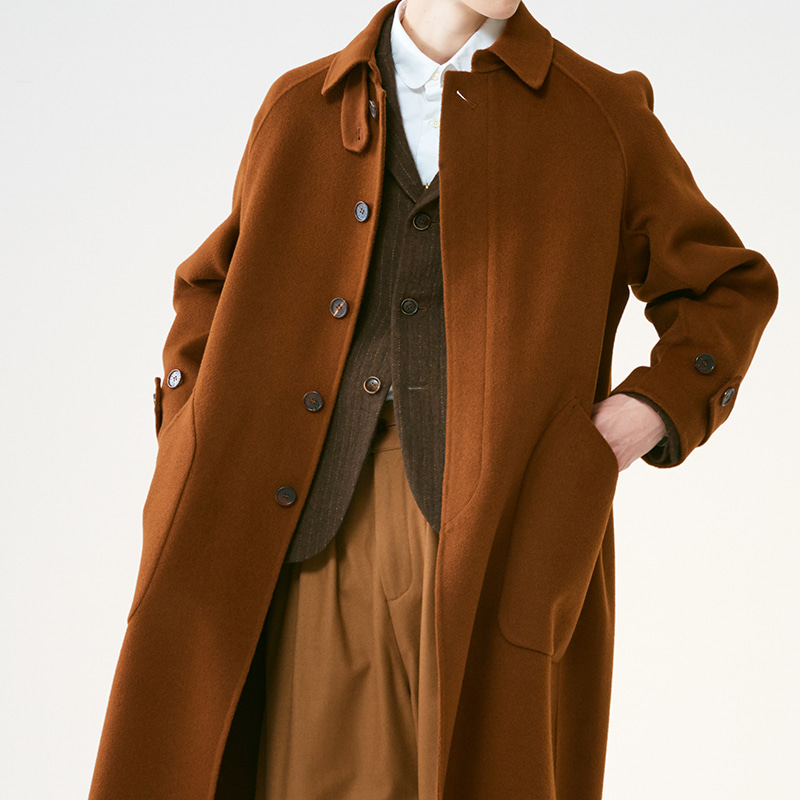 [SALE]Hand-made Inverted pleats balmacaan coat_Brown[(10%off)1,180,000원→1,062,000원]