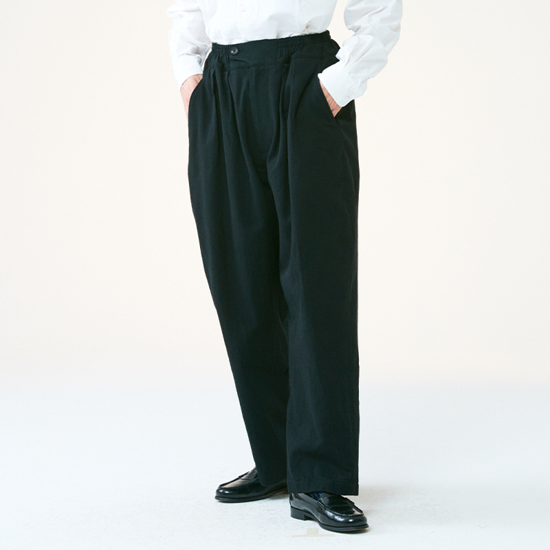Banding string pants_Black(Garments Washing Finish)