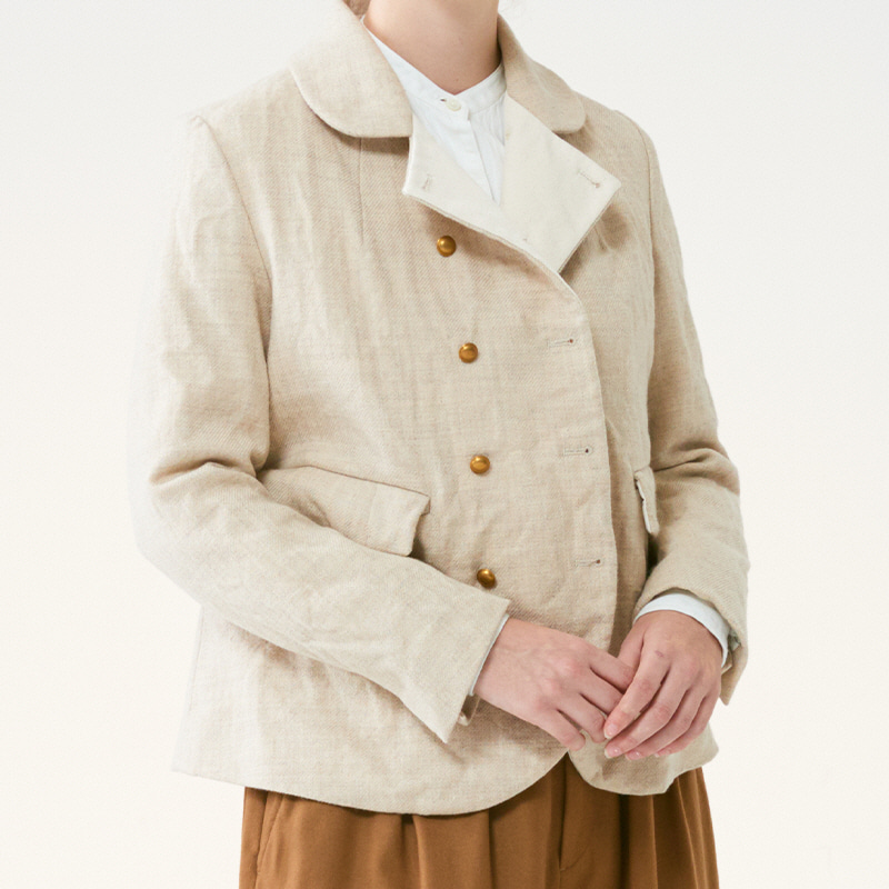 Round collar double jacket_Oatmeal