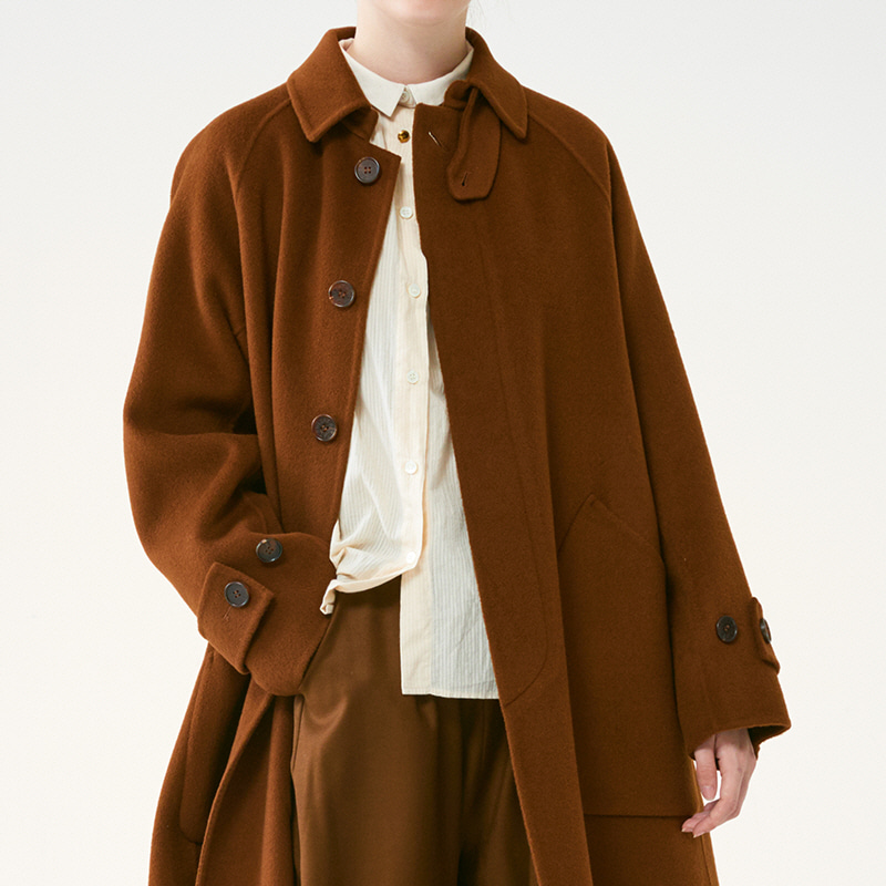 Hand-made Inverted pleats balmacaan coat_Brown