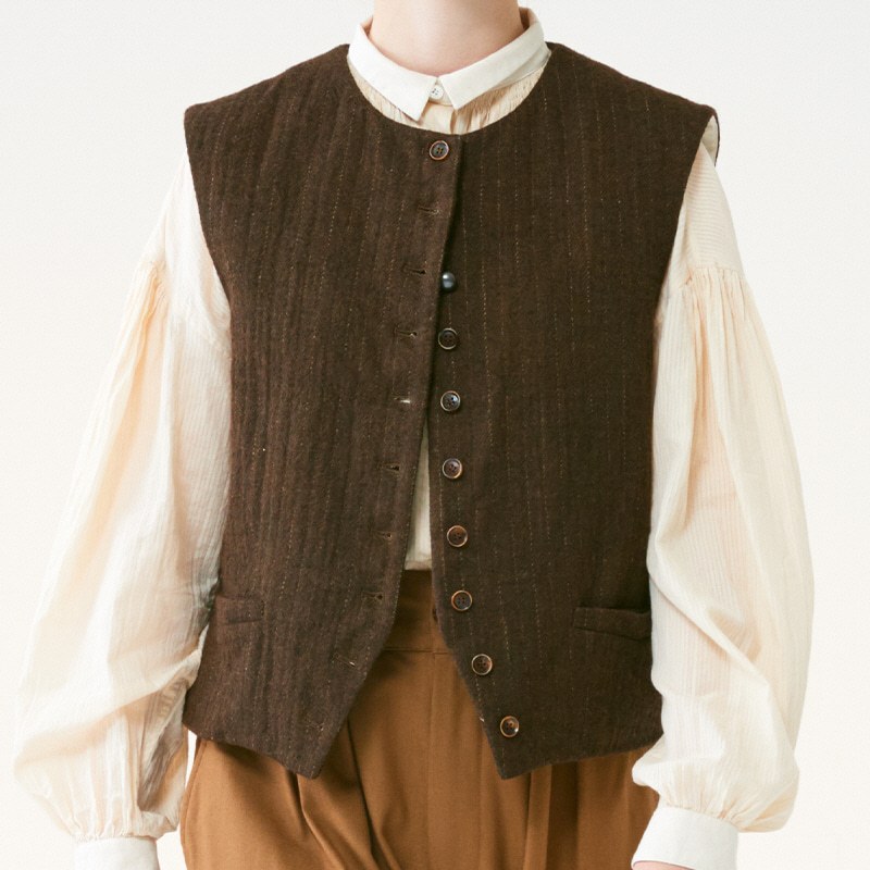 Antique loose-fit vest_Brown