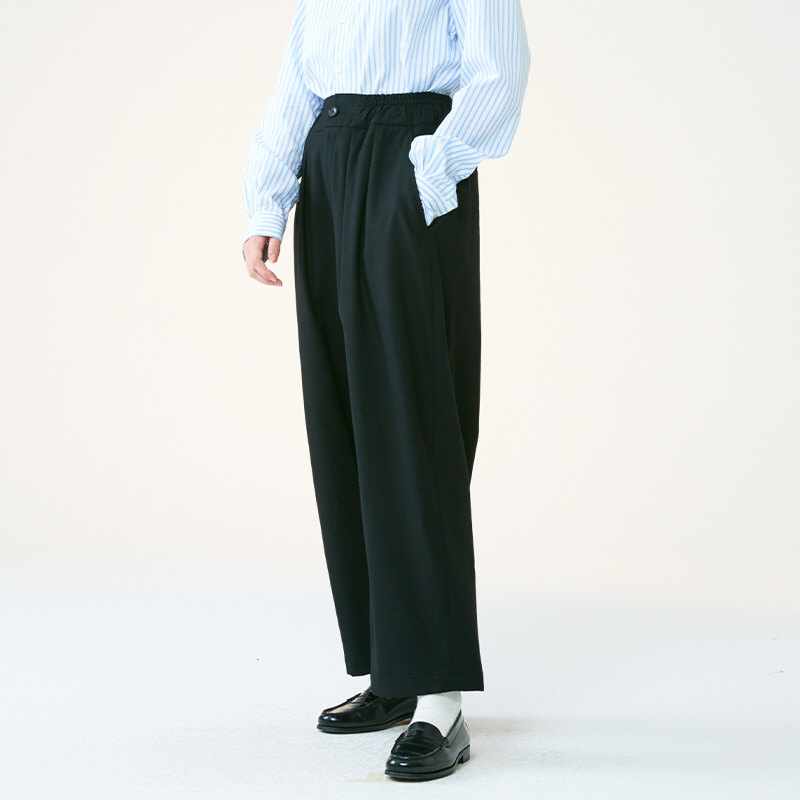 Banding string pants_Black