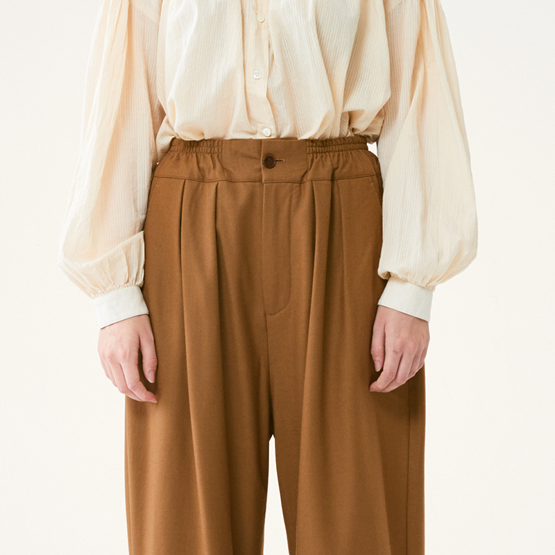 Banding string pants_Camel(Garments Washing Finish)