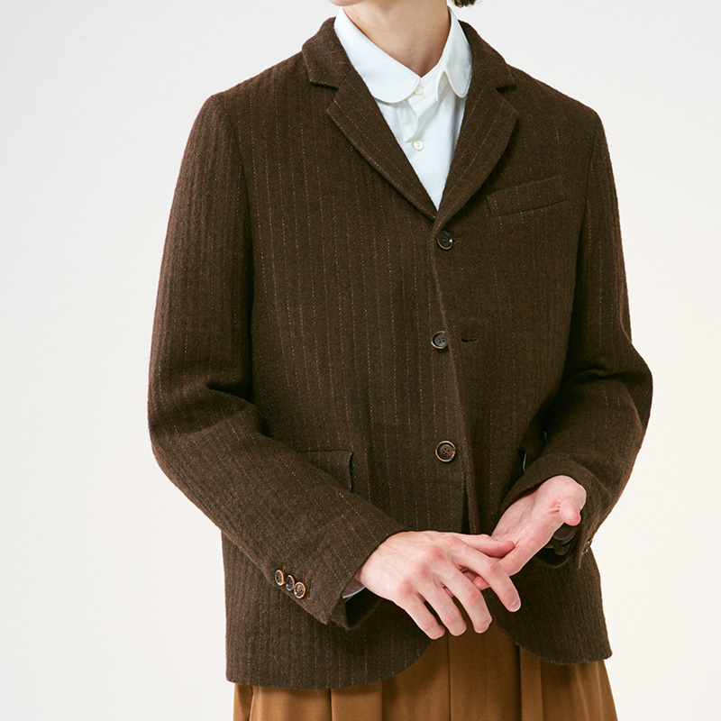 Tailored 3 button single jacket_Brown