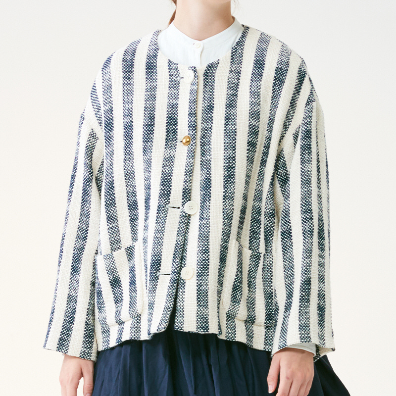 Side pleats single jacket_Stripe